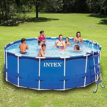 blue pool garden amazoncom intex soft sided metal frame 15 round swimming pool