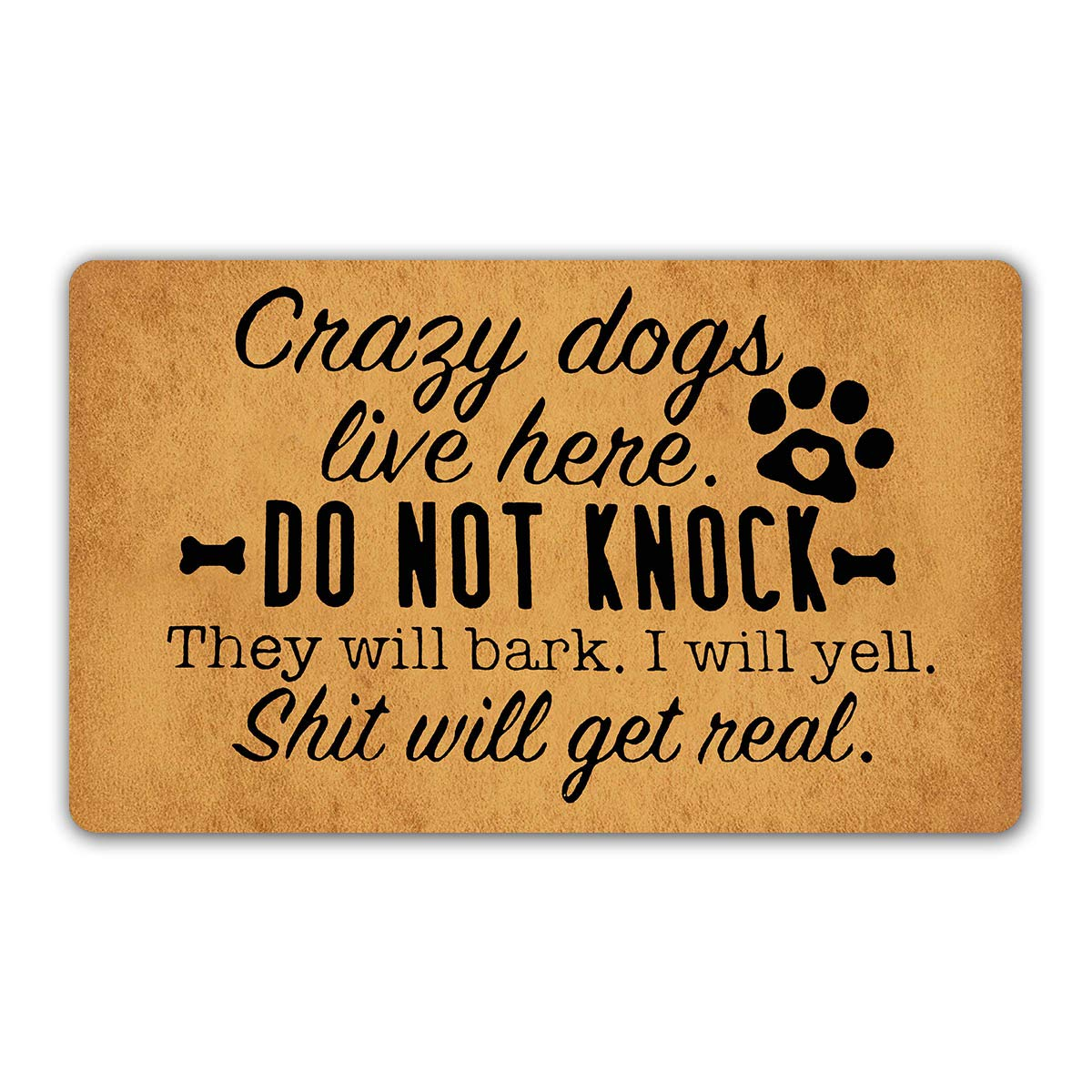 "DoubleJun Funny Doormat Crazy Dogs Live Here Do Not Knock They Will Bark Entrance Mat Floor Rug Indoor/Outdoor/Front Door Mats Home Decor Machine Washable Rubber Non Slip Backing 29.5""(W) X 17.7""(L)"
