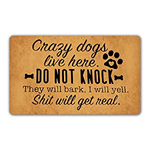 """DoubleJun Funny Doormat Crazy Dogs Live Here Do Not Knock They Will Bark Entrance Mat Floor Rug Indoor/Outdoor/Front Door Mats Home Decor Machine Washable Rubber Non Slip Backing 29.5""""(W) X 17.7""""(L)"""