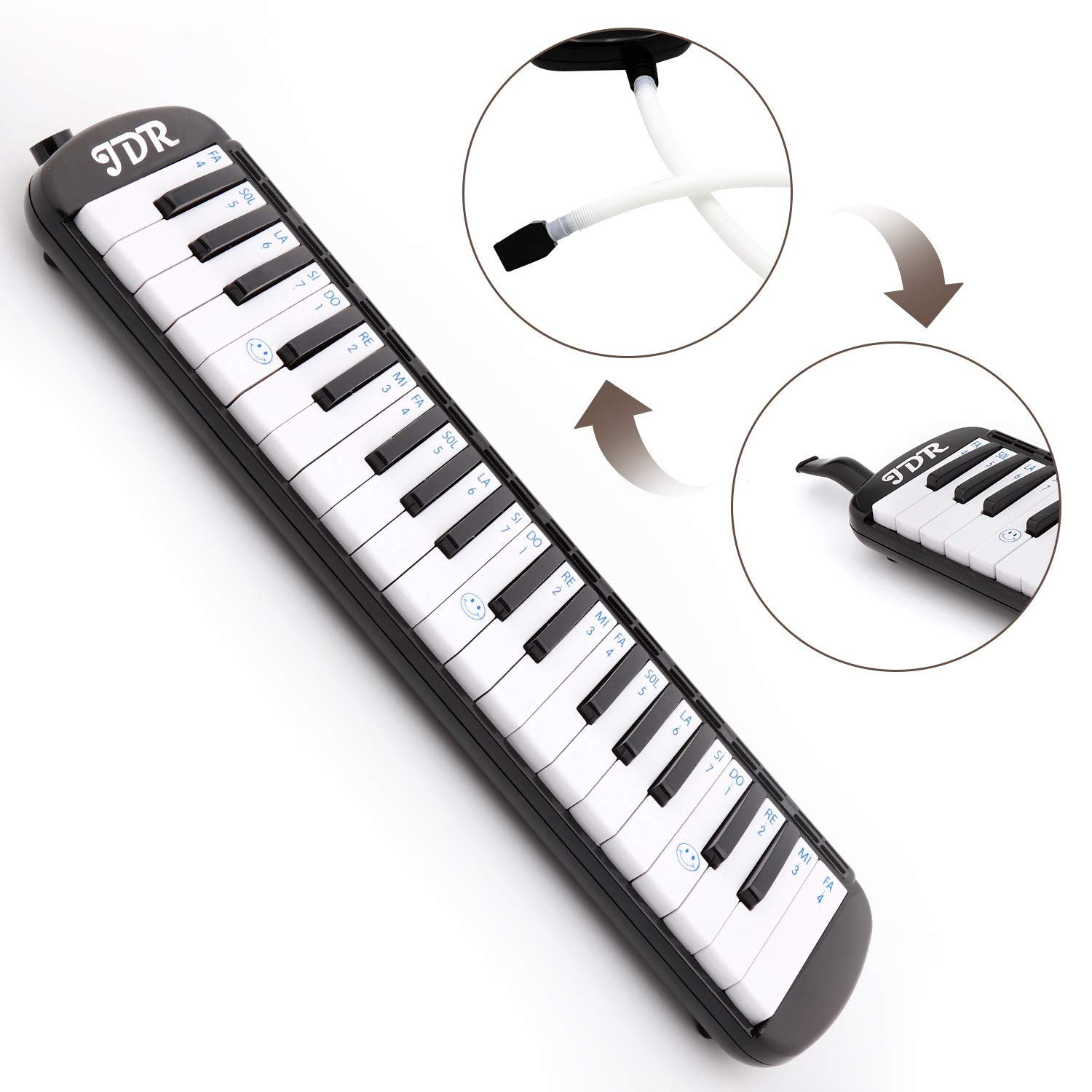 JDR Melodica instrument 37 Keys Piano Style Keyboard Standard Tone with 2×Mouthpiece 2×Tube Music Book Case for Kids Music Gift by JDR (Image #4)