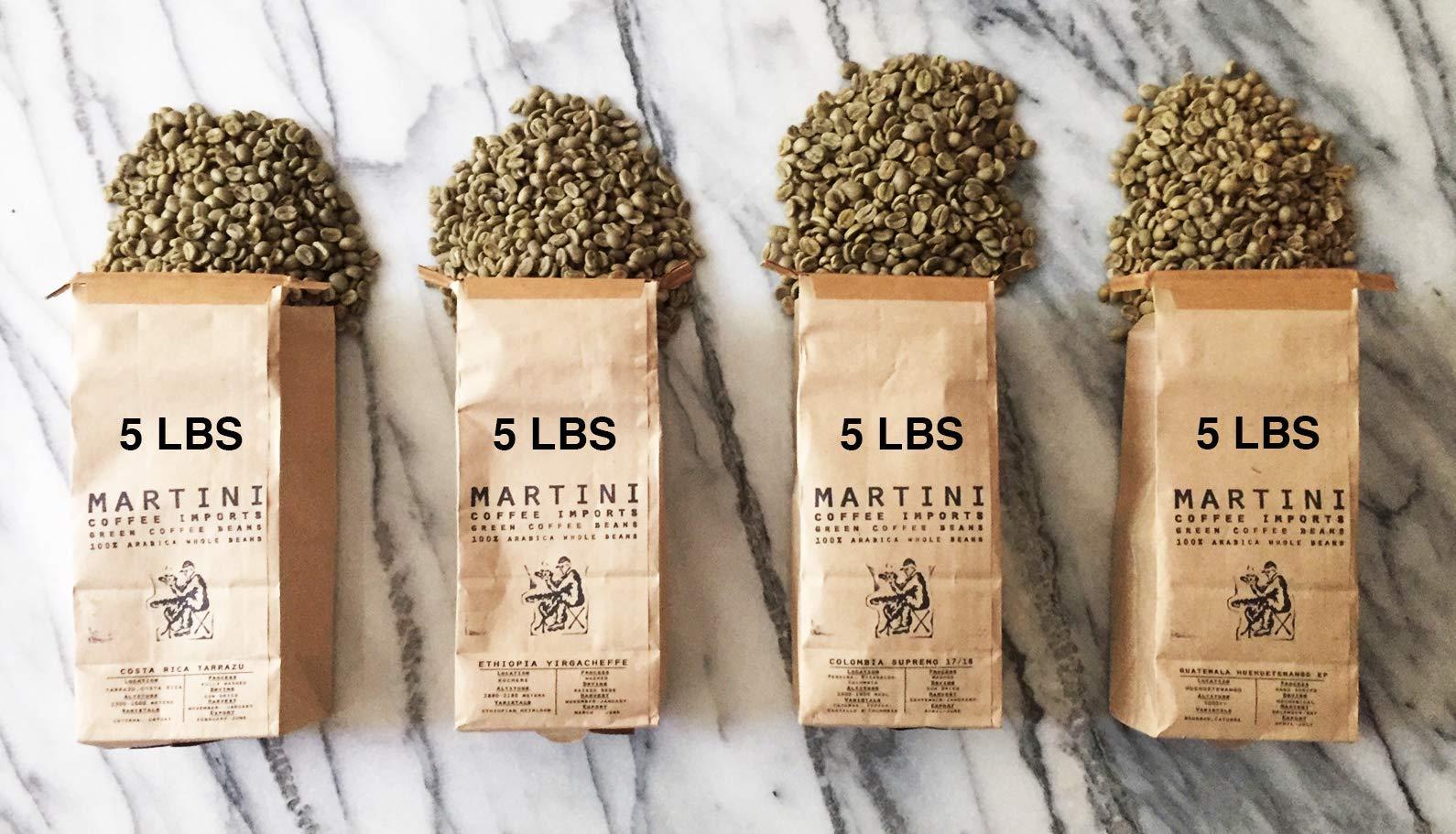 Unroasted Green Coffee Bean Sampler Pack - 20 LBS - 100% raw arabica coffee beans - COLOMBIA, ETHIOPIA, GUATEMALA, COSTA RICA, BRAZIL