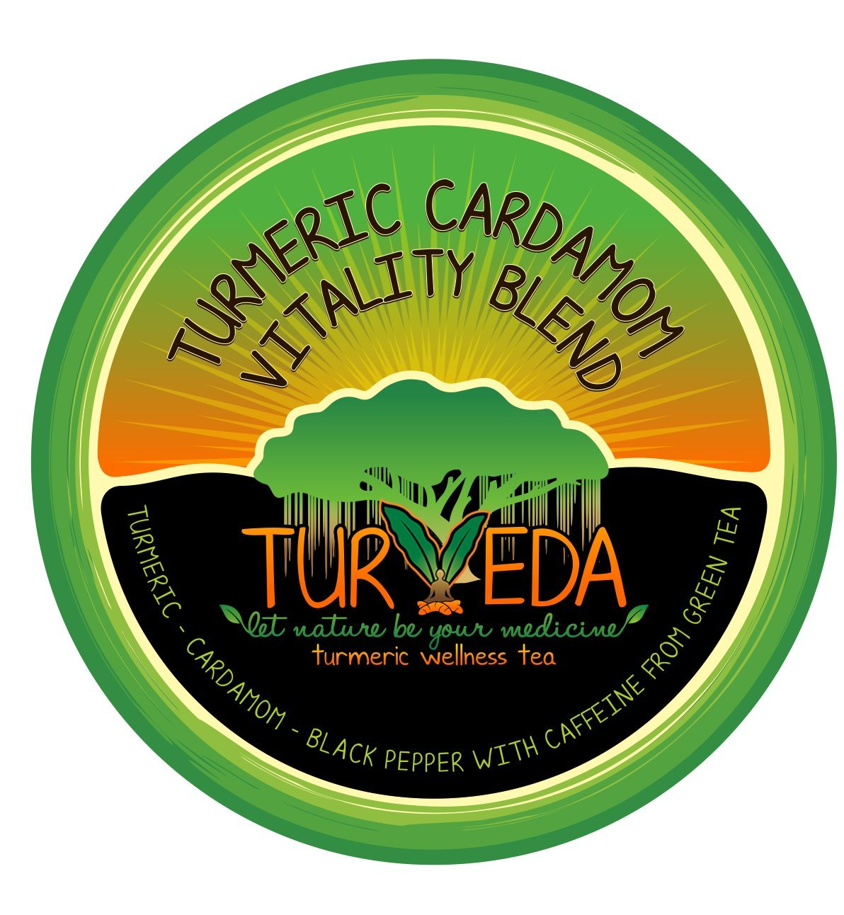 Turveda Golden Tea, Turmeric Cardamom Tea for Keurig K-Cup Brewer, Green Tea Caffeinated, 95% Curcumin K-Cup Supplement For Cardiovascular Support & Healthy Aging, 100% Natural,15 Single Serve Cups by Turveda