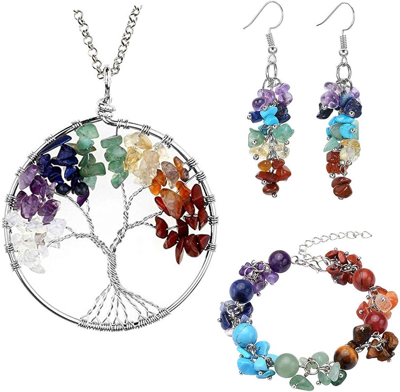 Jovivi - Juego de 7 chakras para mujer con colgante de árbol de la vida, colgante + pendientes de gancho + 10 mm perlas con piedras de tambor, pulsera ajustable