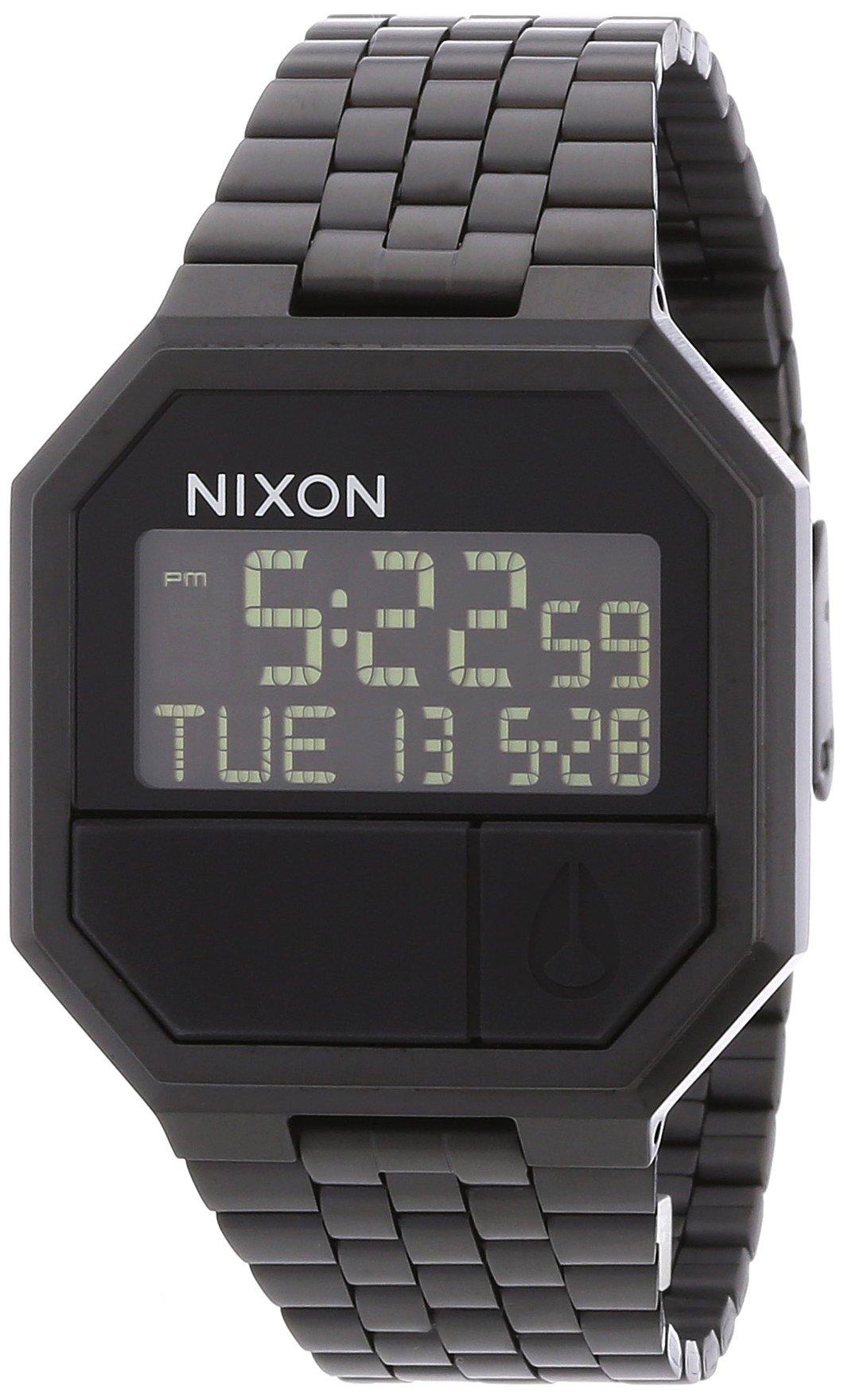 Nixon Re-Run Black Digital Dial Stainless Steel Quartz Men's Watch A158-001