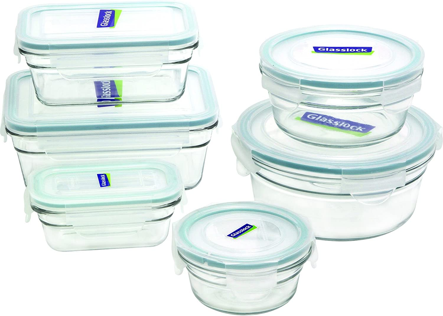 Glasslock 12-Piece Rectangle and Round Assorted Oven Safe Container Set