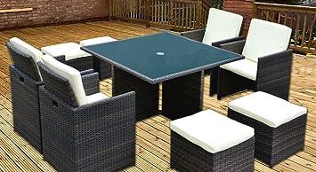 Cube Rattan Gartenmöbel Set Für 8 Personen Tisch 4 Stühle 4 Hocker