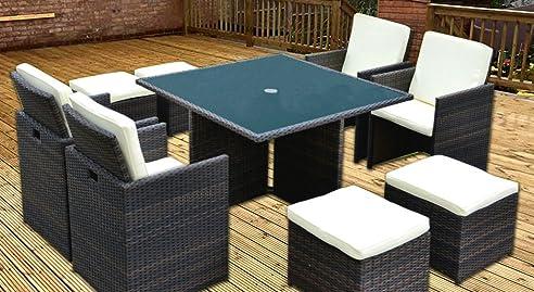 Gartenmöbel Set 8 Personen cube rattan gartenmöbel set für 8 personen tisch 4 stühle 4