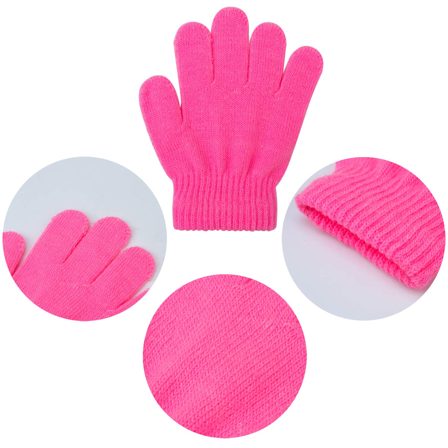 Cooraby 12 Pairs Kids Magic Gloves Winter Warm Knitted Gloves Stretch Full Finger Gloves