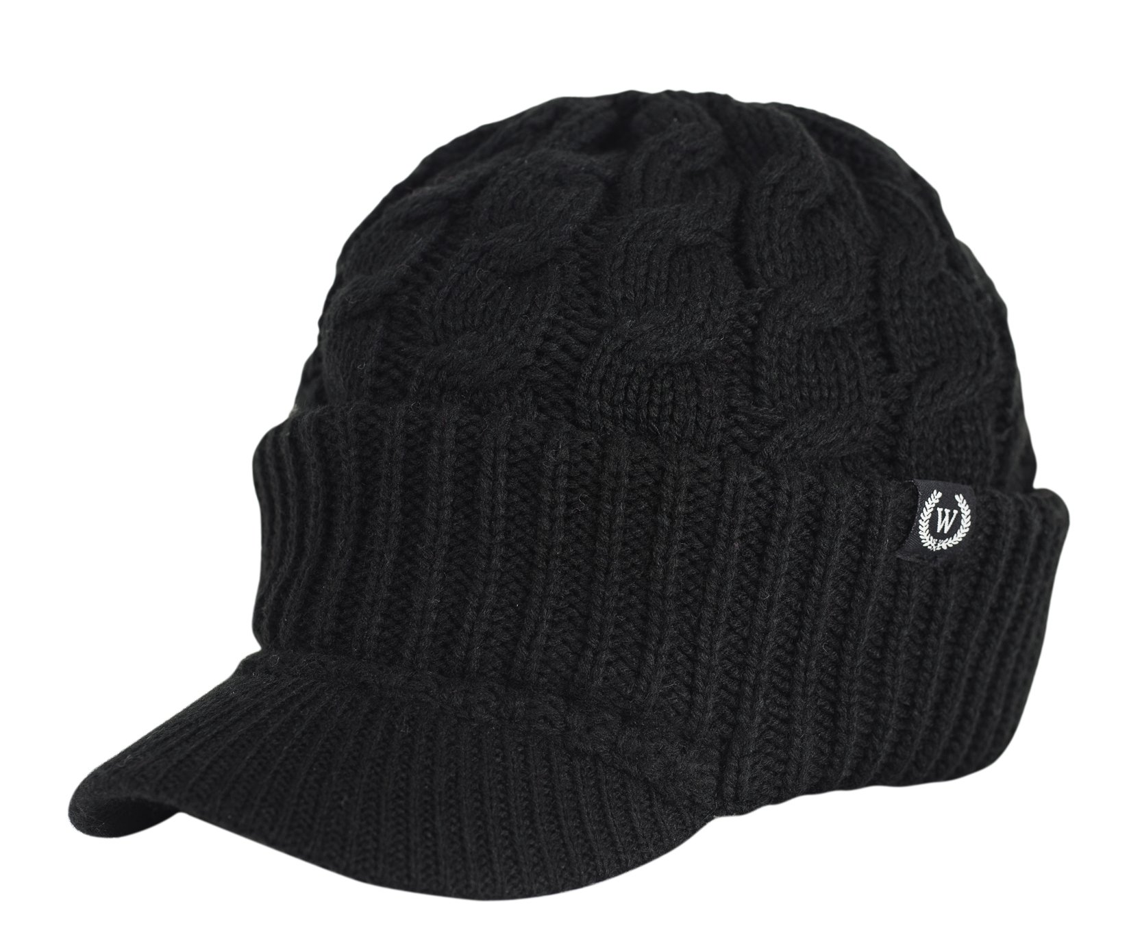 Newsboy Cable Knitted Hat with Visor Bill Winter Warm Hat for Women ... d68f17dbe1a