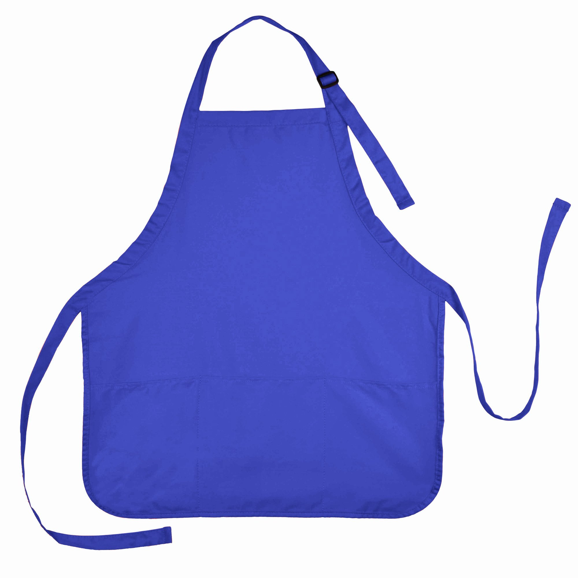 Apron Commercial Restaurant Home Bib Spun Poly Cotton Kitchen Aprons (3 Pockets) in Royal Blue 72 PACK
