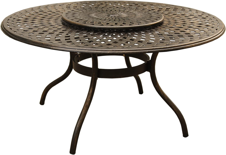 Oakland Living AZ1022-ROUND-59-MODERN-TABLE-LAZY-BZ Outdoor Aluminum Round Table, Bronze