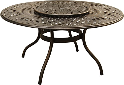 Oakland Living AZ1022-ROUND-59-MODERN-TABLE-LAZY-BZ Outdoor Aluminum Round Table, Bronze