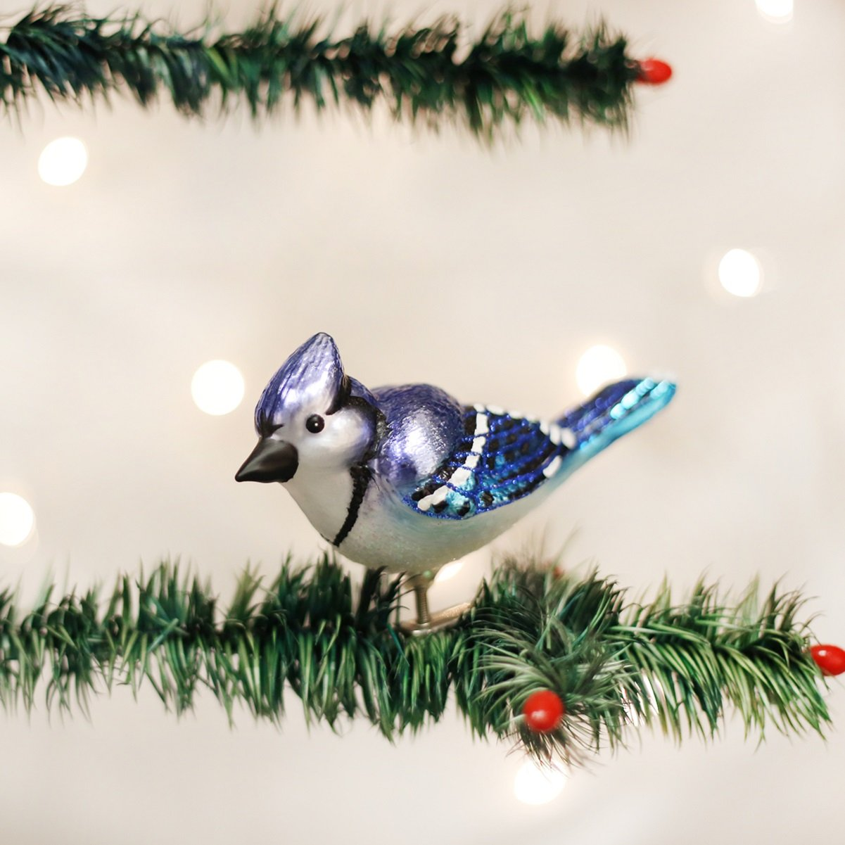 Old World Christmas Bright Blue Jay Glass Blown Ornament