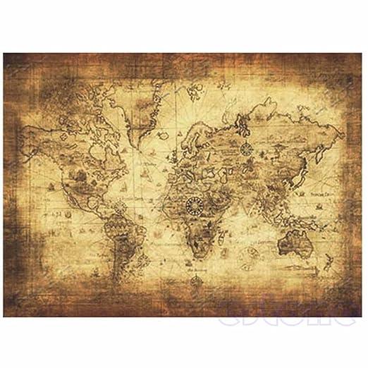 ruiruiNIE Grande Estilo Vintage Retro Papel Cartel Globe ...