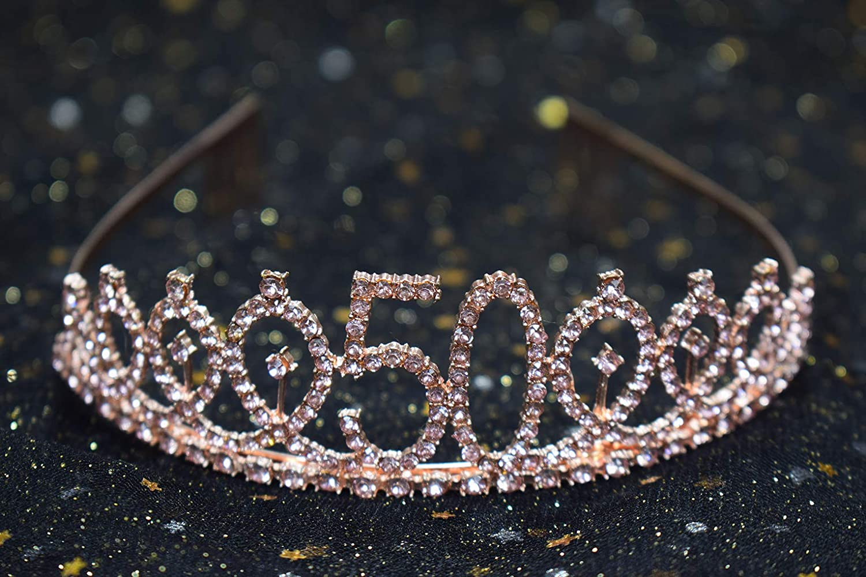 50th Pink Birthday Tiara and Sash Happy 50th Birthday Party Supplies 50th Pink Birthday Glitter Satin Sash and Crystal Tiara Princess Birthday Crown for Girls 50th Birthday Party Decorations