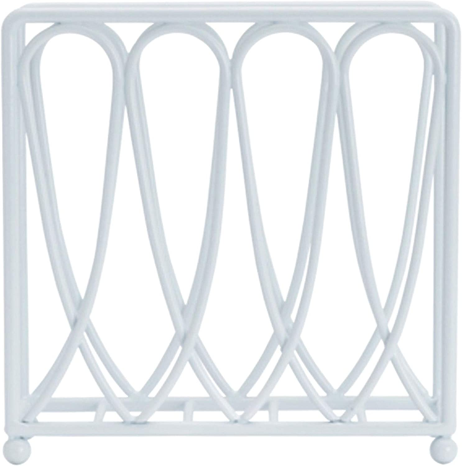 White 7 inch Gourmet Basics by Mikasa Victorian Loop Napkin Holder