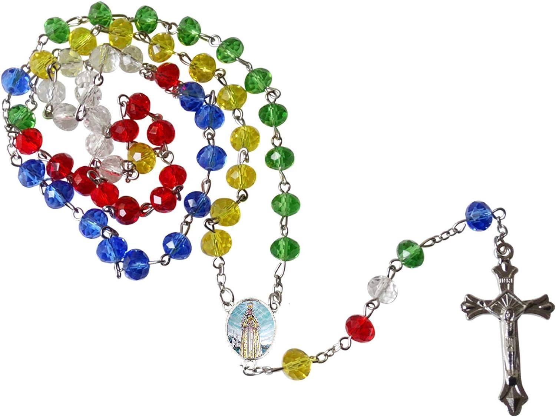 Virgen del Valle Patrona de Isla Margarita Venezuela y Catamarca Argentina Rosario de la Amistad Cuentas Arcoiris de Cuarzo Facetadas Centro y Crucifijo de Plata Anodizada Incluye Postal de Rezo