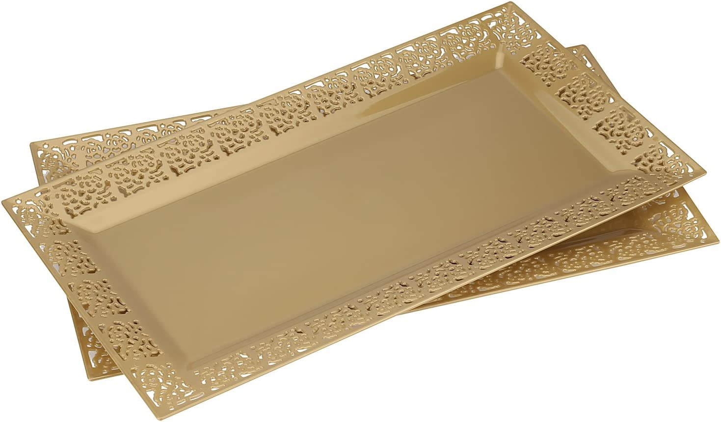 "Silver Spoons and More lace Rim 14"" x 7.5"" Heavyweight Plastic Set of 2 Serving Trays, gold"