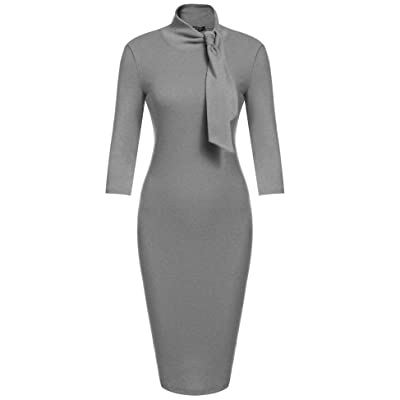 ACEVOG Women's Bow Turtleneck Solid Bodycon Evening Party Pencil Dress at Amazon Women's Clothing store