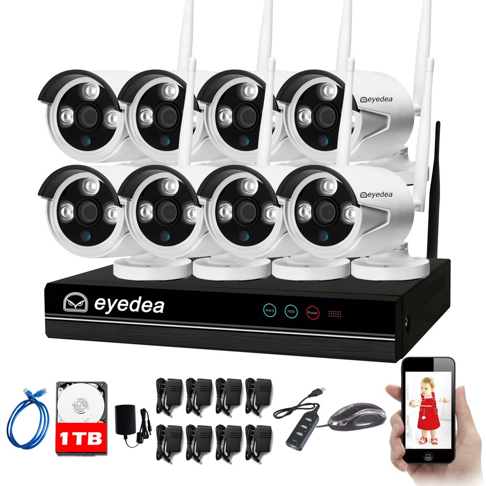 Eyedea 8 CH 1080P WiFi NVR Wireless 5500TVL Camera Surveillance DVR Double Antenna Easy Setup IP Network CMOS Night Vision Home Business CCTV Security Camera Smart Phone APP Remote View 1TB Hard Drive