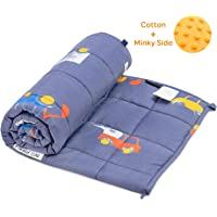 Buzio Weighted Blanket 2.3 kg for Kids, Ultra Cozy Minky Dotted and Cotton Sided with Cartoon Patterns, Heavy Blanket Great for Calming and Sleeping, 91x120 cm, Blue Car World (Ship from Australia)