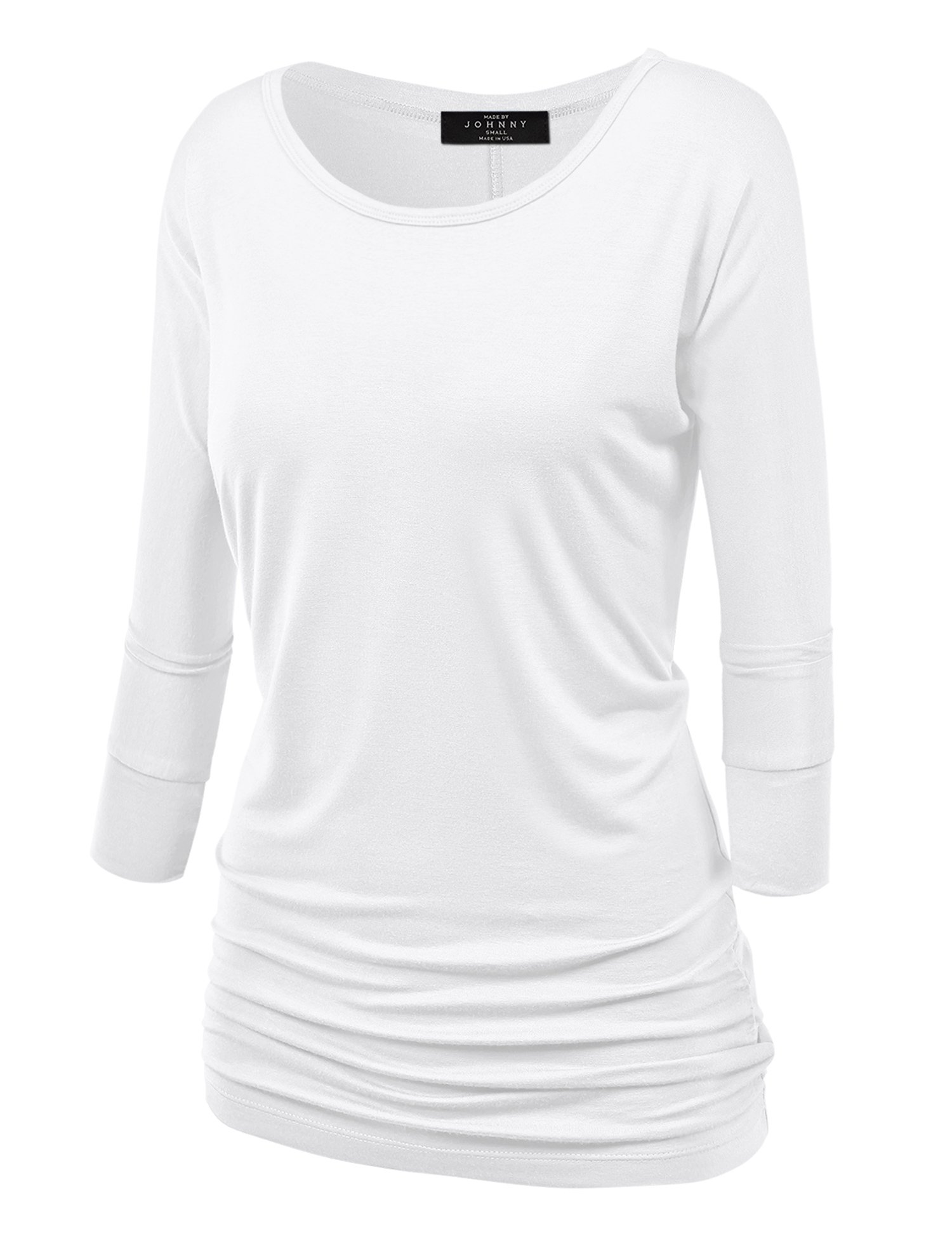 Made By Johnny WT822 Womens 3/4 Sleeve with Drape Top M White