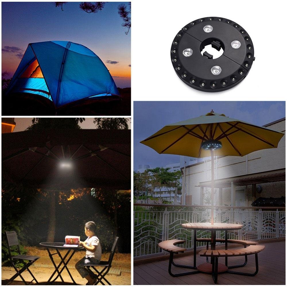 Cordless Patio Umbrella Light, Kobwa 28 LED 3 Brightness Modes Outdoor Camping Tent Lamp - Battery Operated - Pole Mounted or Hung Anywhere for Patio Umbrellas, Camping Tents or Outdoor Use, Black