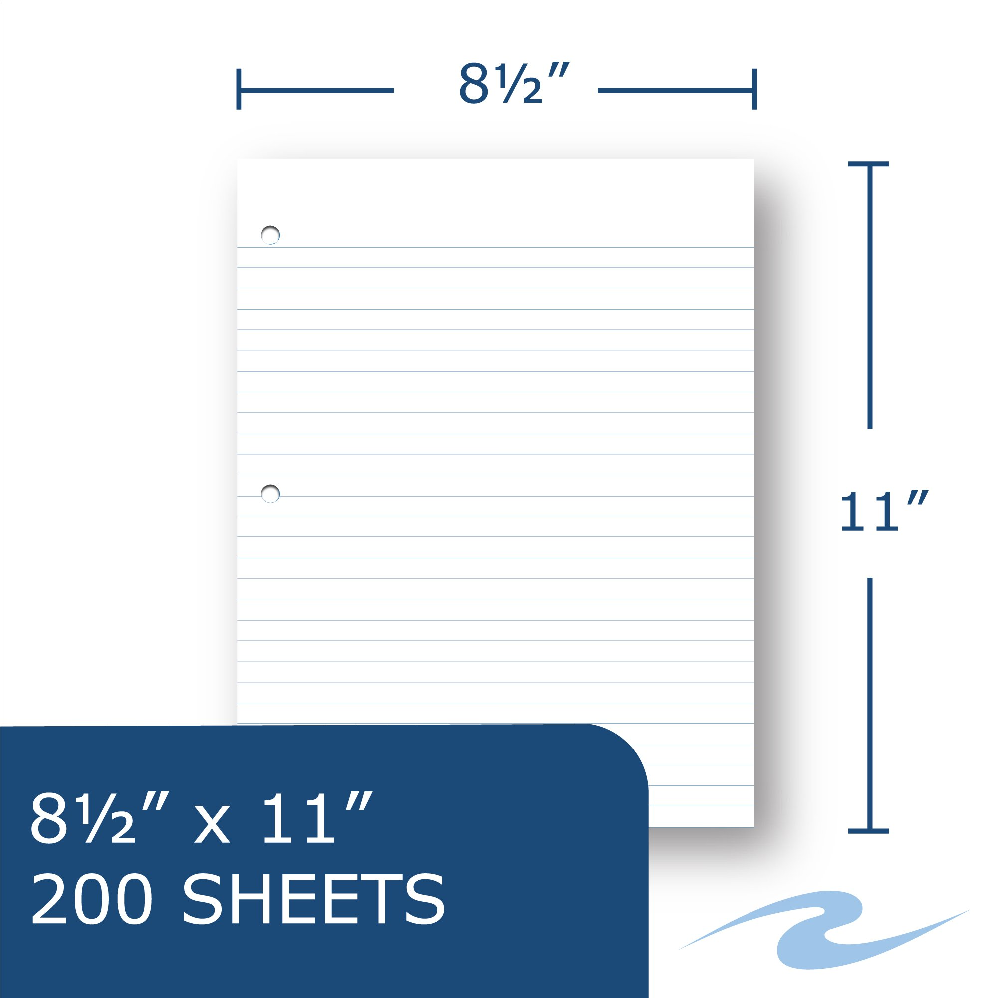 Case of 24 Packs of Looseleaf Filler Paper, 8.5''x11'', 200 Sheets of Smooth Medium Weight 15# White Paper, 3-Hole Punched, wide Ruled W/Margin by Roaring Spring (Image #3)