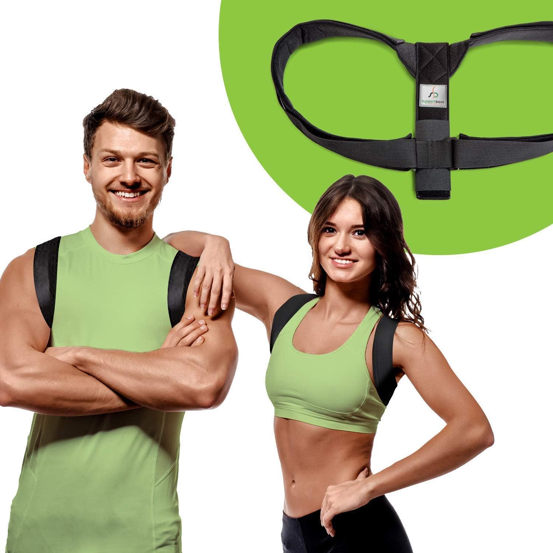 Supportiback Faja terapéutica para la postura superior del cuerpo -Faja para la espalda superior y corrección de postura - Con correas acolchadas duras, diseño en forma de 8 ajustable
