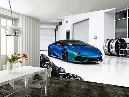 Lamborghini Huracan Race Car Woven Wallpaper Self-Adhesive Wall Mural Art M112