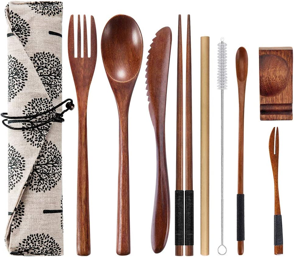 OKA Reusable Wooden Travel Cutlery Set Japanese Style Lunch Utensil Set with Case,9 Pcs Wooden Flatware Including Reusable Knife Fork Spoon Chopsticks Straws & Cleaning Brush