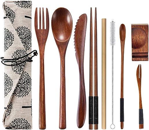 OKA - Cubertería de viaje de madera reutilizable con estuche, 9 piezas de cubiertos de madera incluyendo cuchara de cuchillo reutilizable palillos y cepillo de limpieza: Amazon.es: Hogar