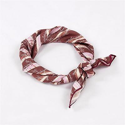 FLYRCX Décoration de printemps et d'été de soie satin soyeux dame imprimer multi-fonctionnel écharpe bande de cheveux 50cmx50cm