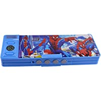 ARD ACCESSORIES Double Sided Compass Sharpener Pattern Pencil Box with Password Number Lock (Blue and White)