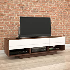 Nexera Sequence TV Stand, 60-inch, Walnut & White