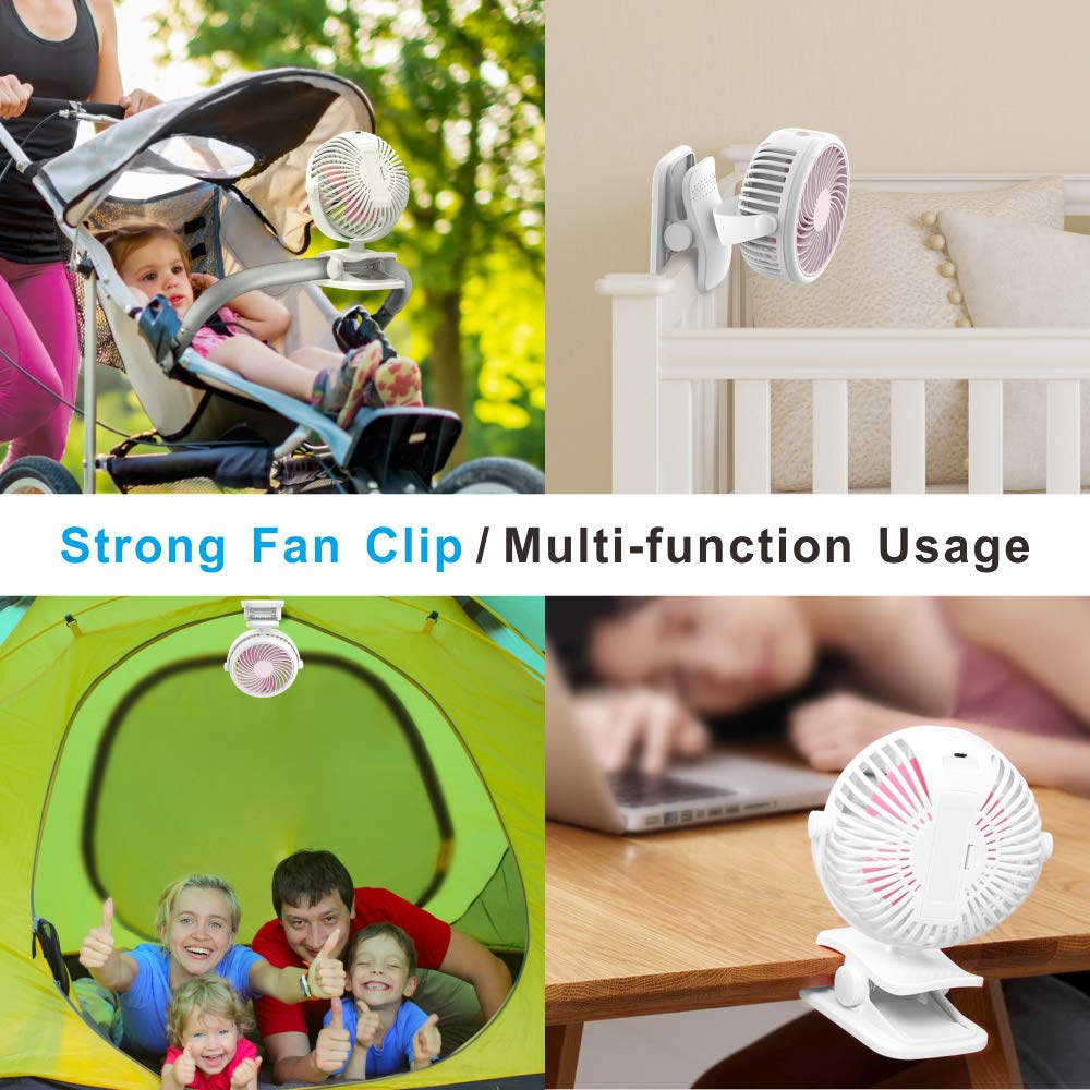 Stroller Fan, Cambond Clip On Fan Battery Operated Fan Rechargeable 2200mAh Battery, USB Cable, 3 Adjustable Speed, Desk Table Portable USB Small Fan for Travel Camping Fishing Boating, Pink by Cambond (Image #7)