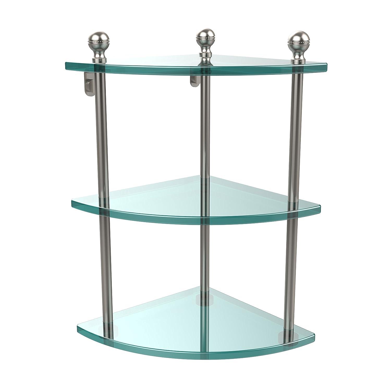 Allied Brass MA-6-SN Triple Corner Glass Shelf Satin Nickel
