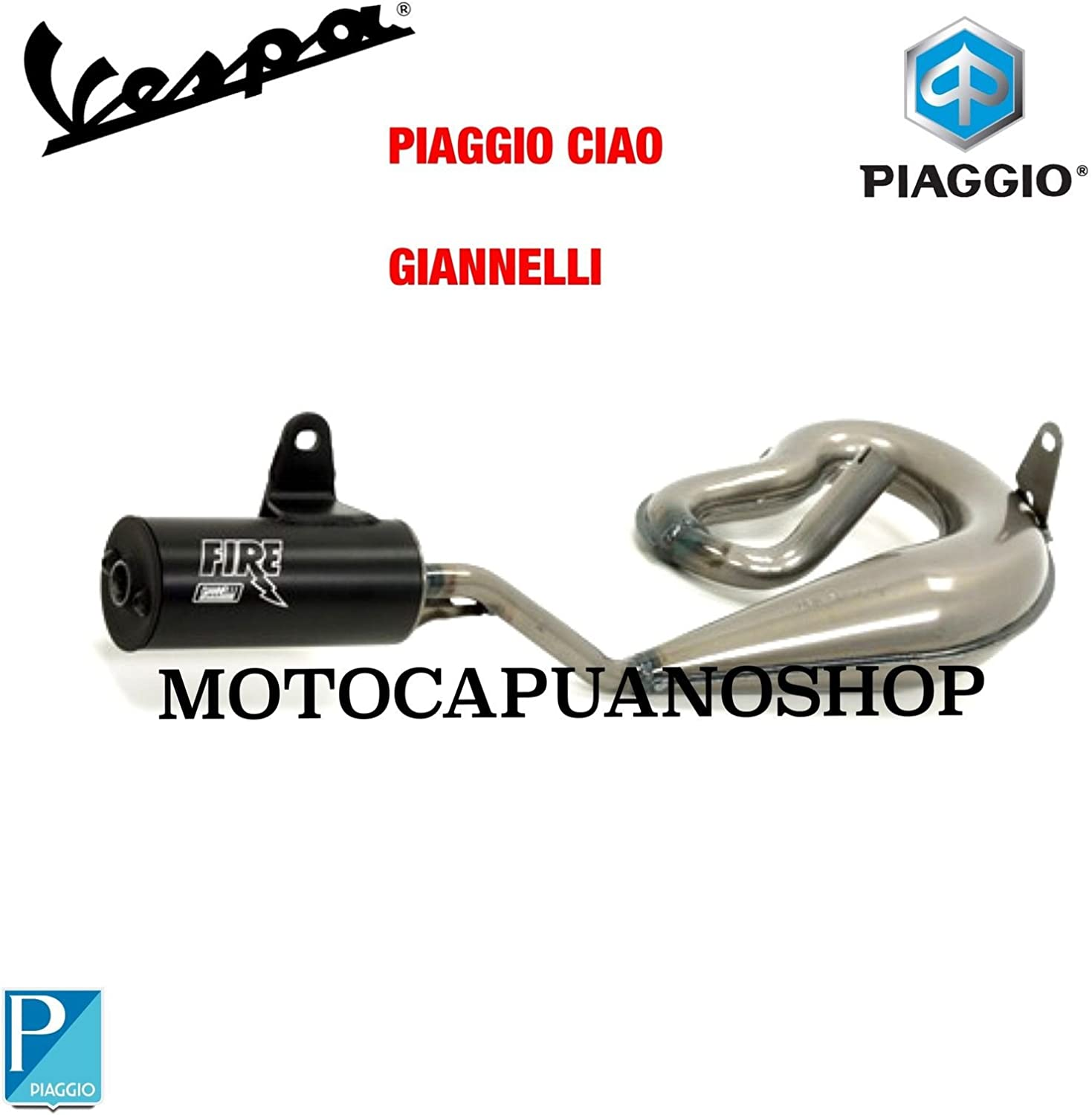 Exhaust Fire Serpent The Gian Piaggio 50 Ciao Px Fl With Silencer Black Auto