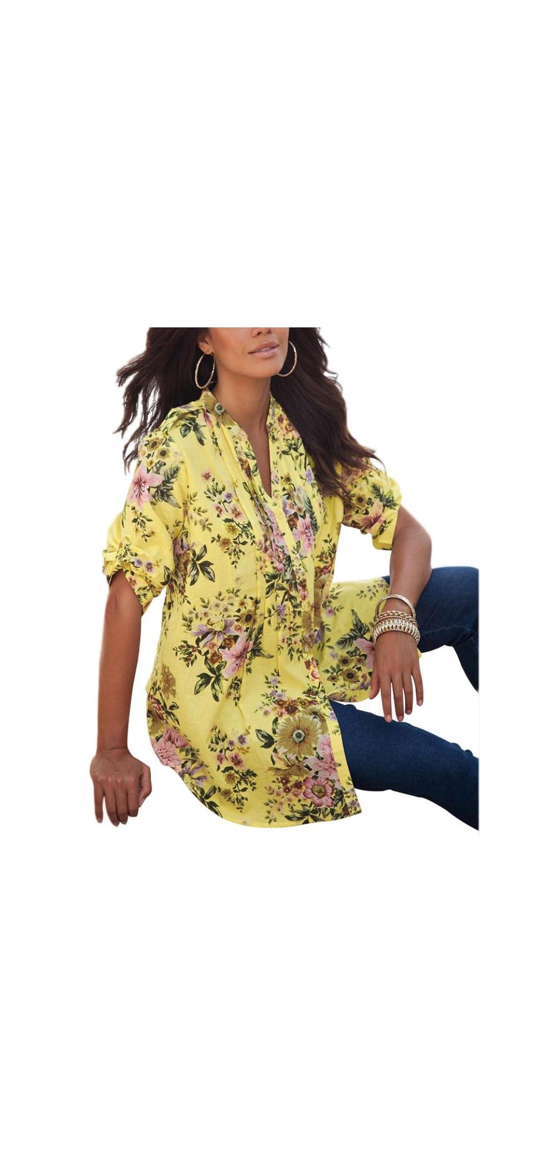 Zyooh Plus Size Blouse, Autumn Vintage Floral Printed V-neck /