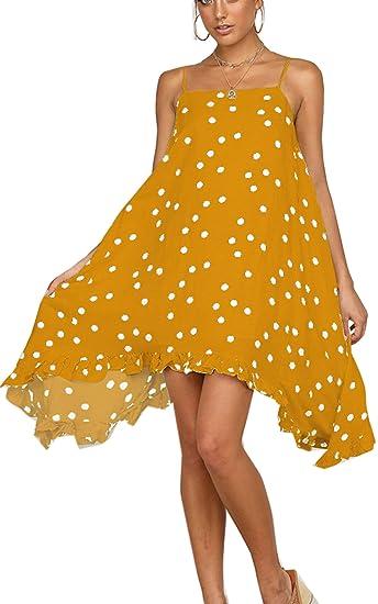 85035bdb311f04 Angashion Damen Sommerkleid Swing Blumenkleid Polka Dot Strandkleid A-line  Skaterkleid Unregelmäßiges Chiffon Kleid Gelb