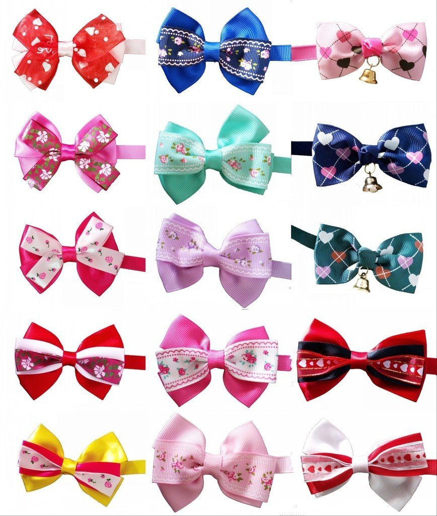 PET SHOW Valentines Lot Puppy Small Dog Bow Ties Pet Cat Bowties Collar for Valentine's Day Party Grooming Accessories Assorted Randomly Pack of 50