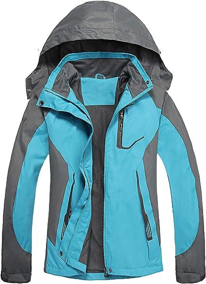 7VSTOHS Giacche Softshell Leggere da Donna Impermeabile Traspirante Resistente allAcqua Giacche con Cappuccio Antivento da Esterno per Escursionismo Corsa Ciclismo Trekking