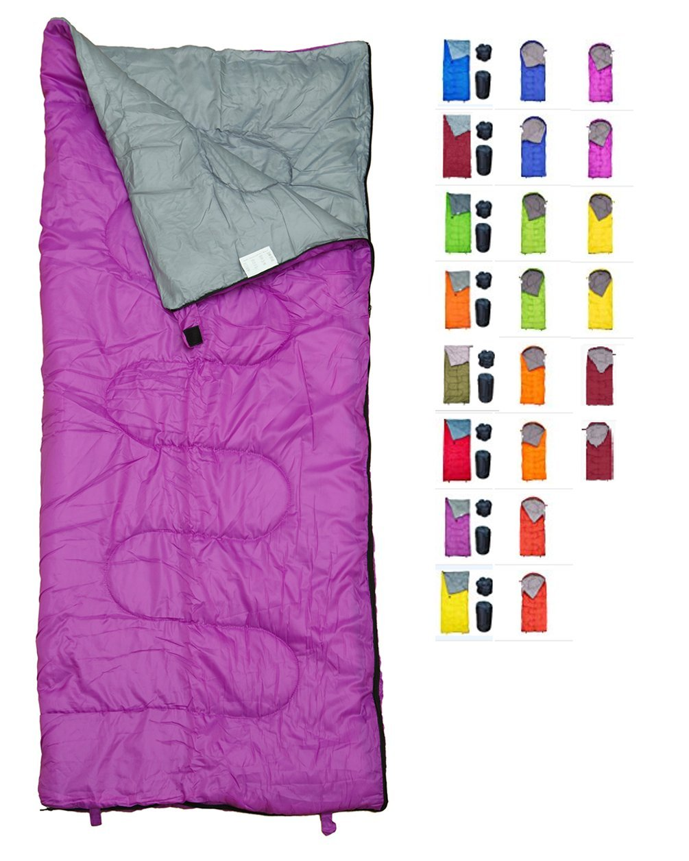REVALCAMP Lightweight Violet/Purple Sleeping Bag Indoor & Outdoor use. Great for Kids, Youth & Adults. Ultralight and Compact Bags are Perfect for Hiking, Backpacking, Camping & Travel. by REVALCAMP