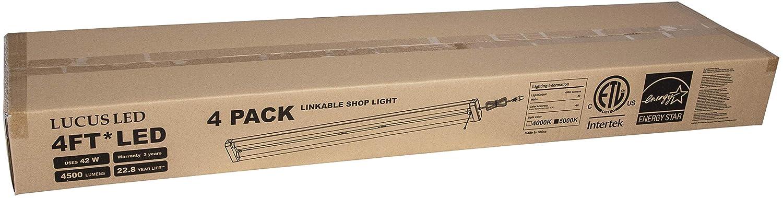 リンク可能なLEDショップまたはガレージライト 4パック 5000K クールホワイト 42W 4500ルーメン 取り付け用金具 電源コード プルチェーン付き B07KBZ347B