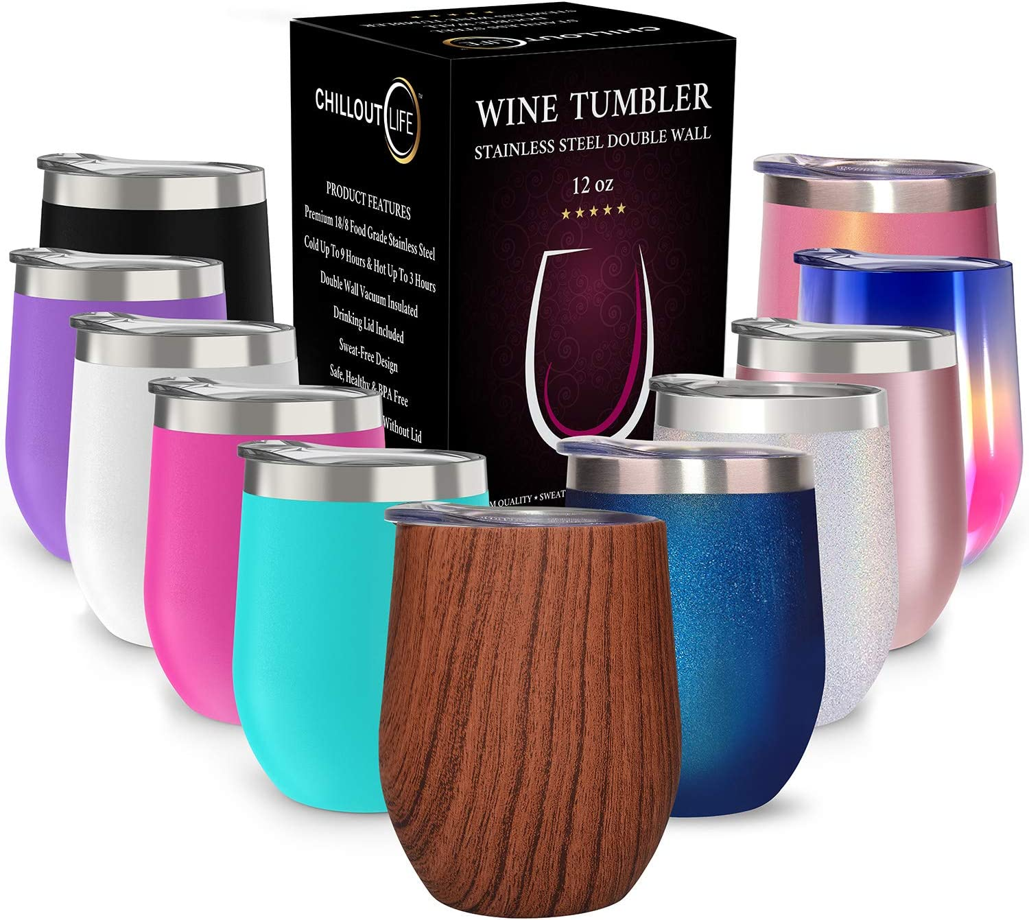 CHILLOUT LIFE 12 oz Stainless Steel Tumbler with Lid & Gift Box - Wine Tumbler Double Wall Vacuum Insulated Travel Tumbler Cup for Coffee, Wine, Cocktails, Ice Cream - Wood Color Tumbler