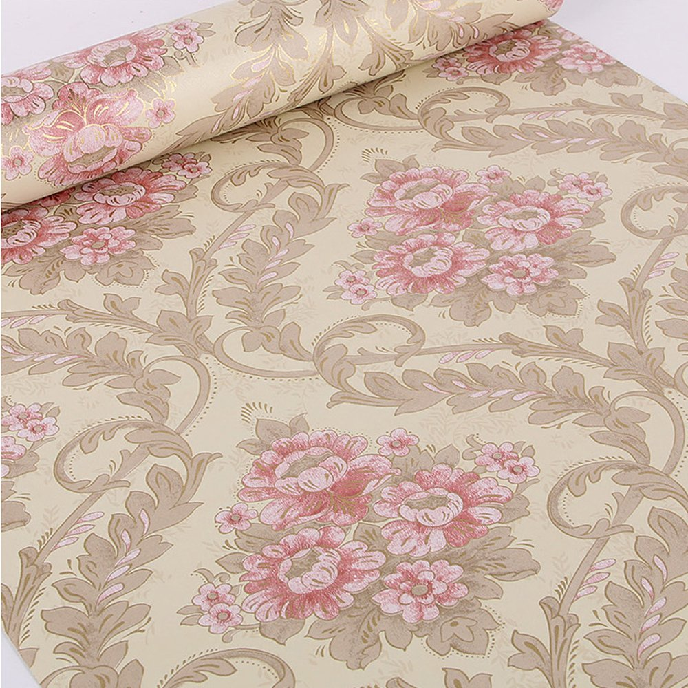 SimpleLife4U Vintage Peony Damask Contact Paper Decorative Shelf Drawer Liner Peel & Stick 17x118 Inches