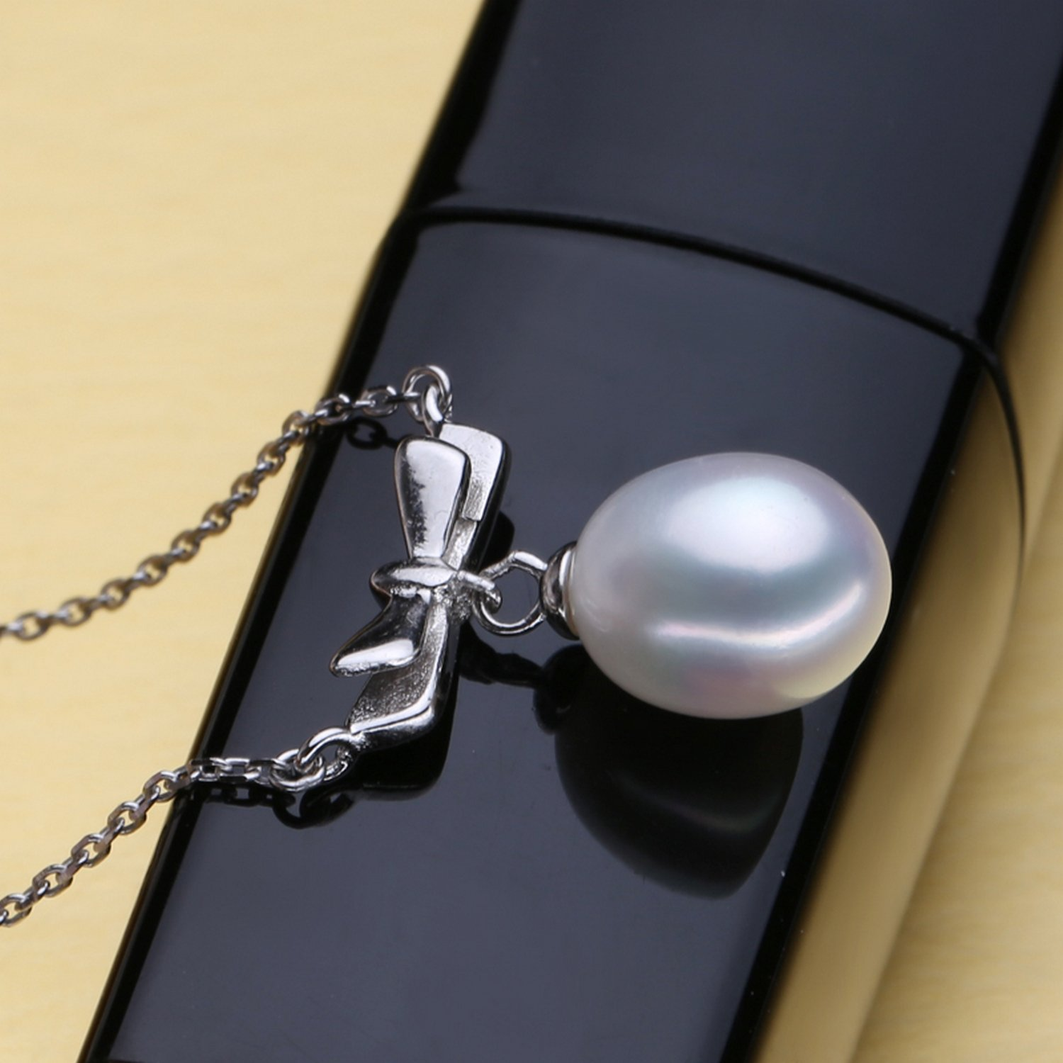 CS-DB Jewelry Silver Genuine Pearl Bowknot Stone Chain Charm Pendants Necklaces