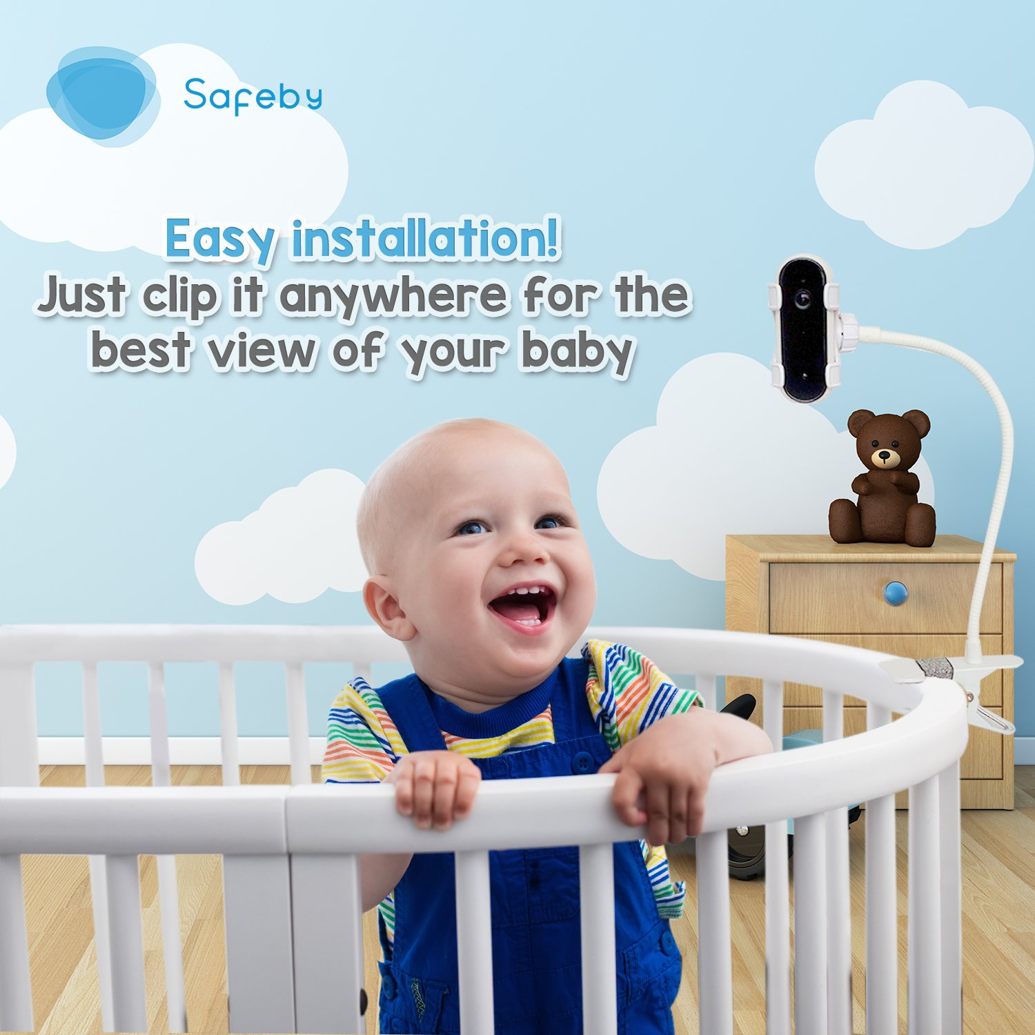 Safeby Video Baby Monitor With Camera And Audio – Crib Mount, iPhone Compatible, HD, Two-Way Talk, InfraRed, Night Vision, Portable WiFi Nanny Cam, App for Any Smart Phone, Unlimited Range Easy Set-Up by Safeby (Image #3)
