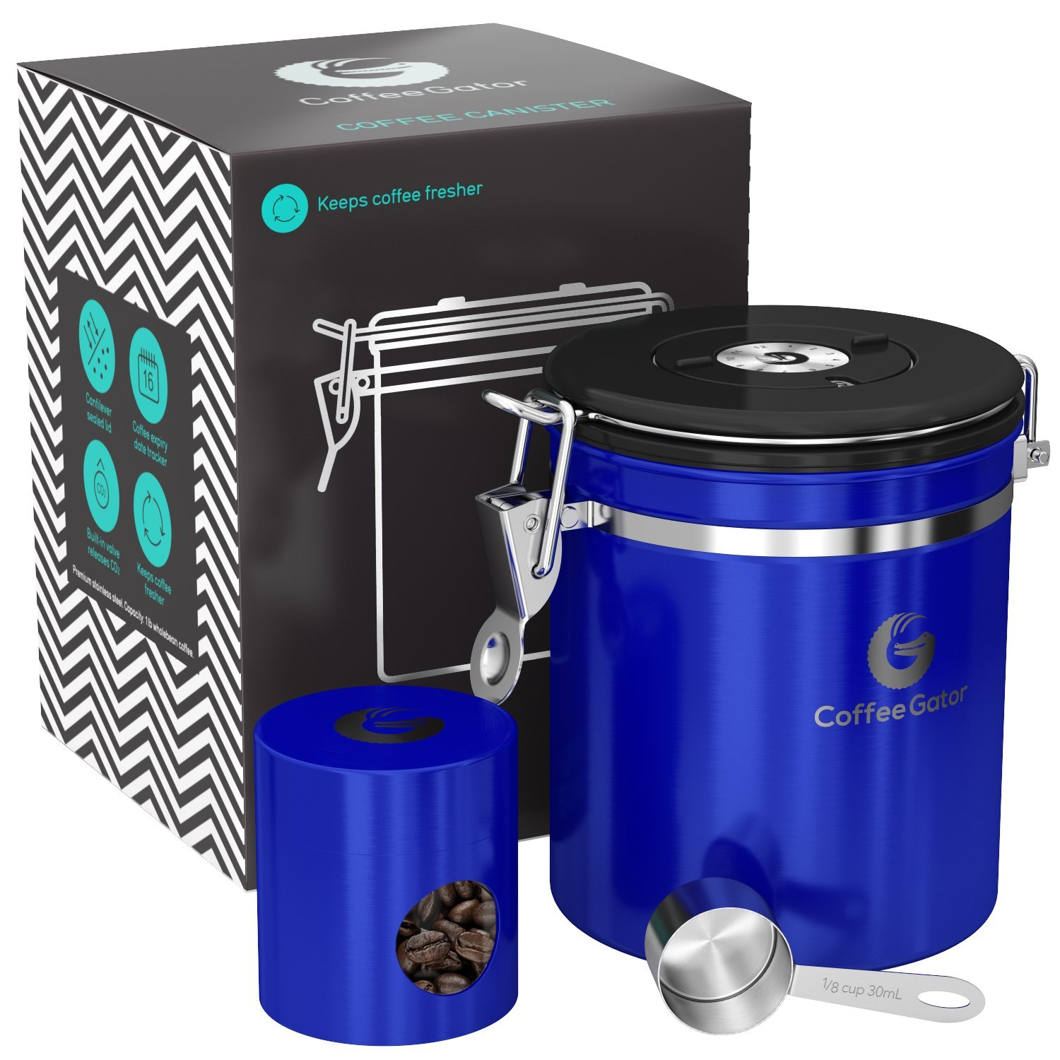 Coffee Gator Stainless Steel Container - Canister with co2 Valve, Scoop, and Travel Jar (Blue, Gray) COMIN18JU047977