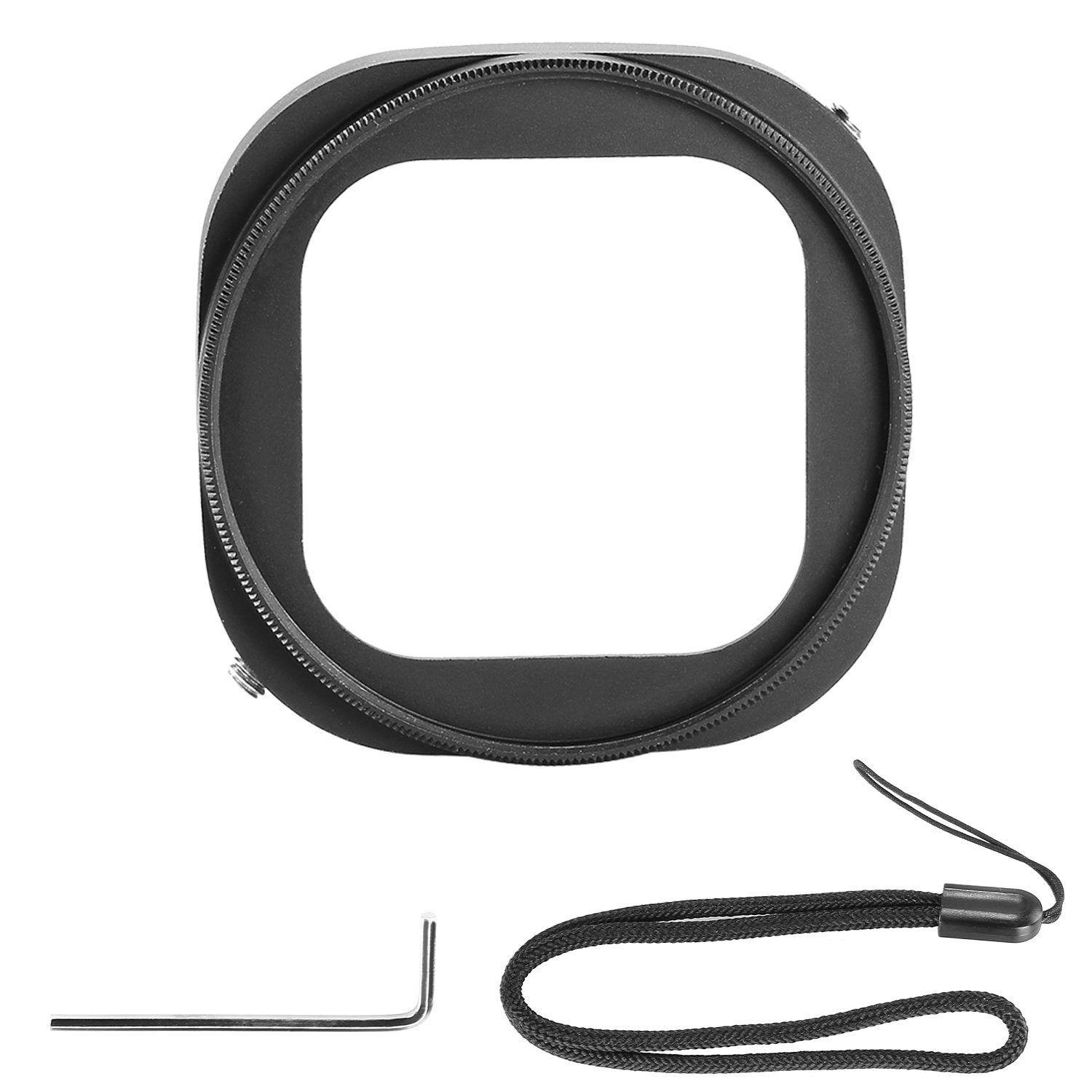 Neewer Aluminum Alloy 52mm Lens Filter Adapter Ring for GoPro HERO 4 Session with a Hexagonal Screwdriver and a Keeper Leash - Black